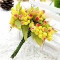 Mini Bouquet Flower Stamen - Big Glass Head, Yellow, 10 pieces, Long 9cm, [ST1122]